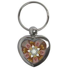 Elegant Antique Pink Kaleidoscope Flower Gold Chic Stylish Classic Design Key Chains (heart)  by yoursparklingshop