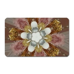 Elegant Antique Pink Kaleidoscope Flower Gold Chic Stylish Classic Design Magnet (rectangular) by yoursparklingshop