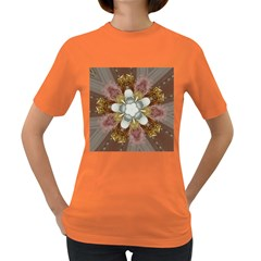 Elegant Antique Pink Kaleidoscope Flower Gold Chic Stylish Classic Design Women s Dark T-shirt by yoursparklingshop