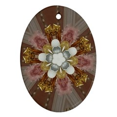 Elegant Antique Pink Kaleidoscope Flower Gold Chic Stylish Classic Design Oval Ornament (two Sides) by yoursparklingshop