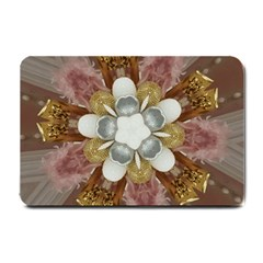 Elegant Antique Pink Kaleidoscope Flower Gold Chic Stylish Classic Design Small Doormat  by yoursparklingshop