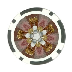 Elegant Antique Pink Kaleidoscope Flower Gold Chic Stylish Classic Design Poker Chip Card Guards by yoursparklingshop