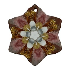 Elegant Antique Pink Kaleidoscope Flower Gold Chic Stylish Classic Design Ornament (snowflake)  by yoursparklingshop