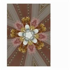 Elegant Antique Pink Kaleidoscope Flower Gold Chic Stylish Classic Design Small Garden Flag (two Sides) by yoursparklingshop