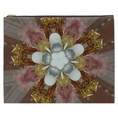 Elegant Antique Pink Kaleidoscope Flower Gold Chic Stylish Classic Design Cosmetic Bag (xxxl)  by yoursparklingshop
