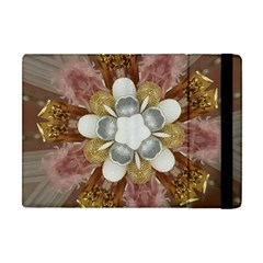 Elegant Antique Pink Kaleidoscope Flower Gold Chic Stylish Classic Design Apple Ipad Mini Flip Case by yoursparklingshop