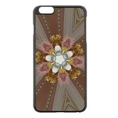 Elegant Antique Pink Kaleidoscope Flower Gold Chic Stylish Classic Design Apple Iphone 6 Plus/6s Plus Black Enamel Case by yoursparklingshop