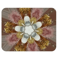 Elegant Antique Pink Kaleidoscope Flower Gold Chic Stylish Classic Design Double Sided Flano Blanket (medium)  by yoursparklingshop