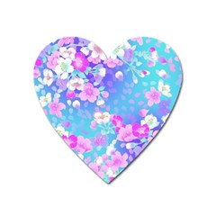 Colorful Pastel Flowers  Heart Magnet by Brittlevirginclothing