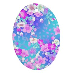 Colorful Pastel Flowers  Oval Ornament (two Sides) by Brittlevirginclothing