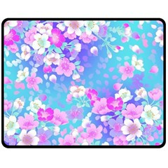 Colorful Pastel Flowers Fleece Blanket (medium)  by Brittlevirginclothing