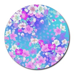 Colorful Pastel Flowers Round Mousepads by Brittlevirginclothing