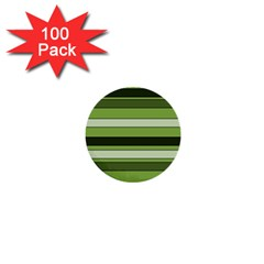 Greenery Stripes Pattern Horizontal Stripe Shades Of Spring Green 1  Mini Buttons (100 Pack)