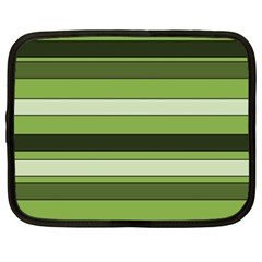Greenery Stripes Pattern Horizontal Stripe Shades Of Spring Green Netbook Case (xxl)  by yoursparklingshop