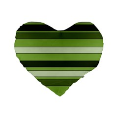 Greenery Stripes Pattern Horizontal Stripe Shades Of Spring Green Standard 16  Premium Heart Shape Cushions by yoursparklingshop