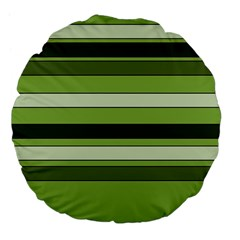 Greenery Stripes Pattern Horizontal Stripe Shades Of Spring Green Large 18  Premium Flano Round Cushions by yoursparklingshop