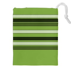 Greenery Stripes Pattern Horizontal Stripe Shades Of Spring Green Drawstring Pouches (xxl) by yoursparklingshop