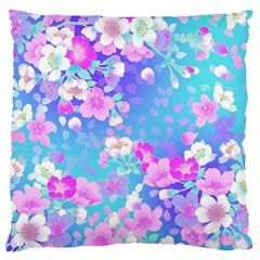 Colorful Pastel Flowers Large Flano Cushion Case (one Side) by Brittlevirginclothing