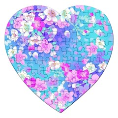 Colorful Pastel Flowers Jigsaw Puzzle (heart) by Brittlevirginclothing