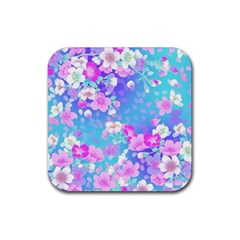 Colorful Pastel Flowers Rubber Square Coaster (4 Pack)  by Brittlevirginclothing