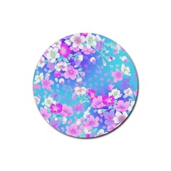 Colorful Pastel Flowers Rubber Round Coaster (4 Pack)  by Brittlevirginclothing