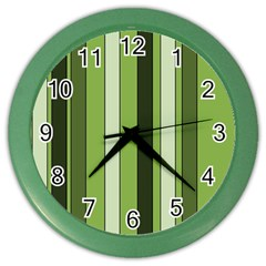 Greenery Stripes Pattern 8000 Vertical Stripe Shades Of Spring Green Color Color Wall Clocks
