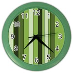 Greenery Stripes Pattern 8000 Vertical Stripe Shades Of Spring Green Color Color Wall Clocks Front