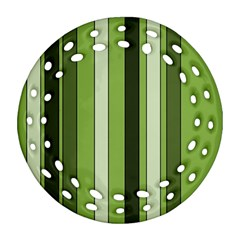 Greenery Stripes Pattern 8000 Vertical Stripe Shades Of Spring Green Color Ornament (round Filigree)  by yoursparklingshop