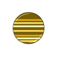 Elegant Shades Of Primrose Yellow Brown Orange Stripes Pattern Hat Clip Ball Marker (4 Pack) by yoursparklingshop