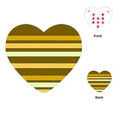 Elegant Shades Of Primrose Yellow Brown Orange Stripes Pattern Playing Cards (heart)  by yoursparklingshop