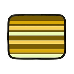 Elegant Shades Of Primrose Yellow Brown Orange Stripes Pattern Netbook Case (small)