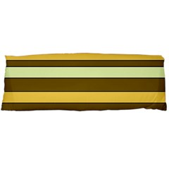 Elegant Shades Of Primrose Yellow Brown Orange Stripes Pattern Body Pillow Case (dakimakura) by yoursparklingshop