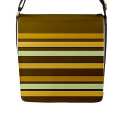 Elegant Shades Of Primrose Yellow Brown Orange Stripes Pattern Flap Messenger Bag (l)  by yoursparklingshop