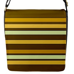 Elegant Shades Of Primrose Yellow Brown Orange Stripes Pattern Flap Messenger Bag (s) by yoursparklingshop