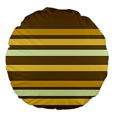 Elegant Shades Of Primrose Yellow Brown Orange Stripes Pattern Large 18  Premium Flano Round Cushions by yoursparklingshop