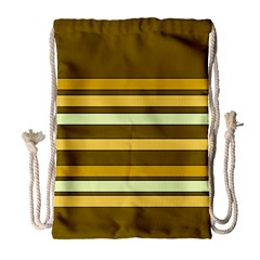 Elegant Shades Of Primrose Yellow Brown Orange Stripes Pattern Drawstring Bag (large) by yoursparklingshop