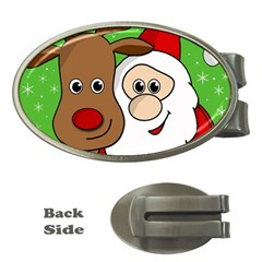 Rudolph And Santa Selfie Money Clips (oval)  by Valentinaart