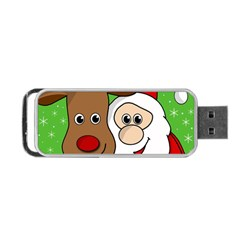 Rudolph And Santa Selfie Portable Usb Flash (one Side) by Valentinaart