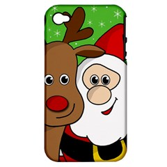 Rudolph And Santa Selfie Apple Iphone 4/4s Hardshell Case (pc+silicone) by Valentinaart