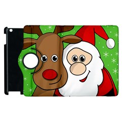 Rudolph And Santa Selfie Apple Ipad 3/4 Flip 360 Case by Valentinaart