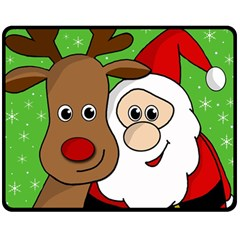 Rudolph And Santa Selfie Double Sided Fleece Blanket (medium)  by Valentinaart