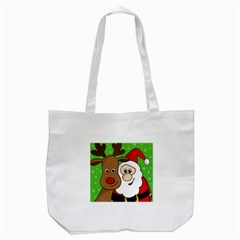 Rudolph And Santa Selfie Tote Bag (white) by Valentinaart