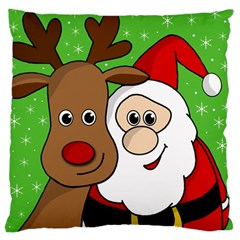 Rudolph And Santa Selfie Large Flano Cushion Case (one Side) by Valentinaart
