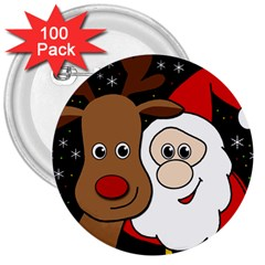 Xmas Selfie 3  Buttons (100 Pack)  by Valentinaart