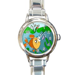 Fish And Worm Round Italian Charm Watch by Valentinaart