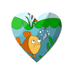 Fish And Worm Heart Magnet by Valentinaart