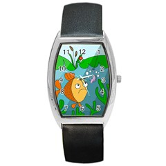 Fish And Worm Barrel Style Metal Watch by Valentinaart