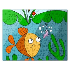 Fish And Worm Rectangular Jigsaw Puzzl by Valentinaart
