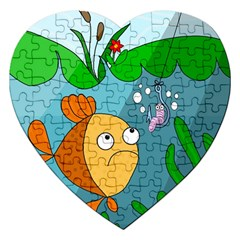 Fish And Worm Jigsaw Puzzle (heart) by Valentinaart