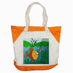 Fish And Worm Accent Tote Bag by Valentinaart
